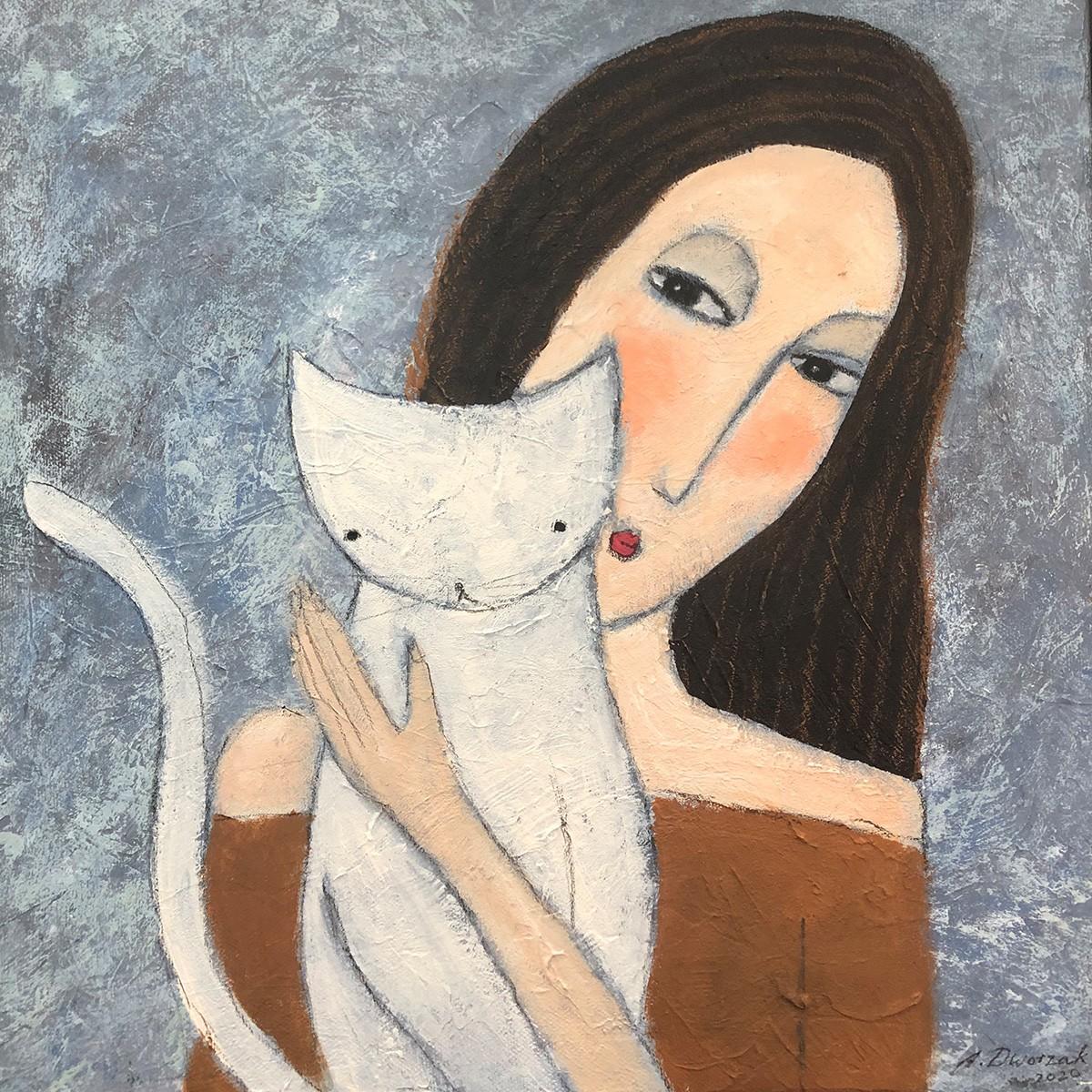 Liebste - Original Gemälde mit Katzenmotiv Größe 40x40 cm