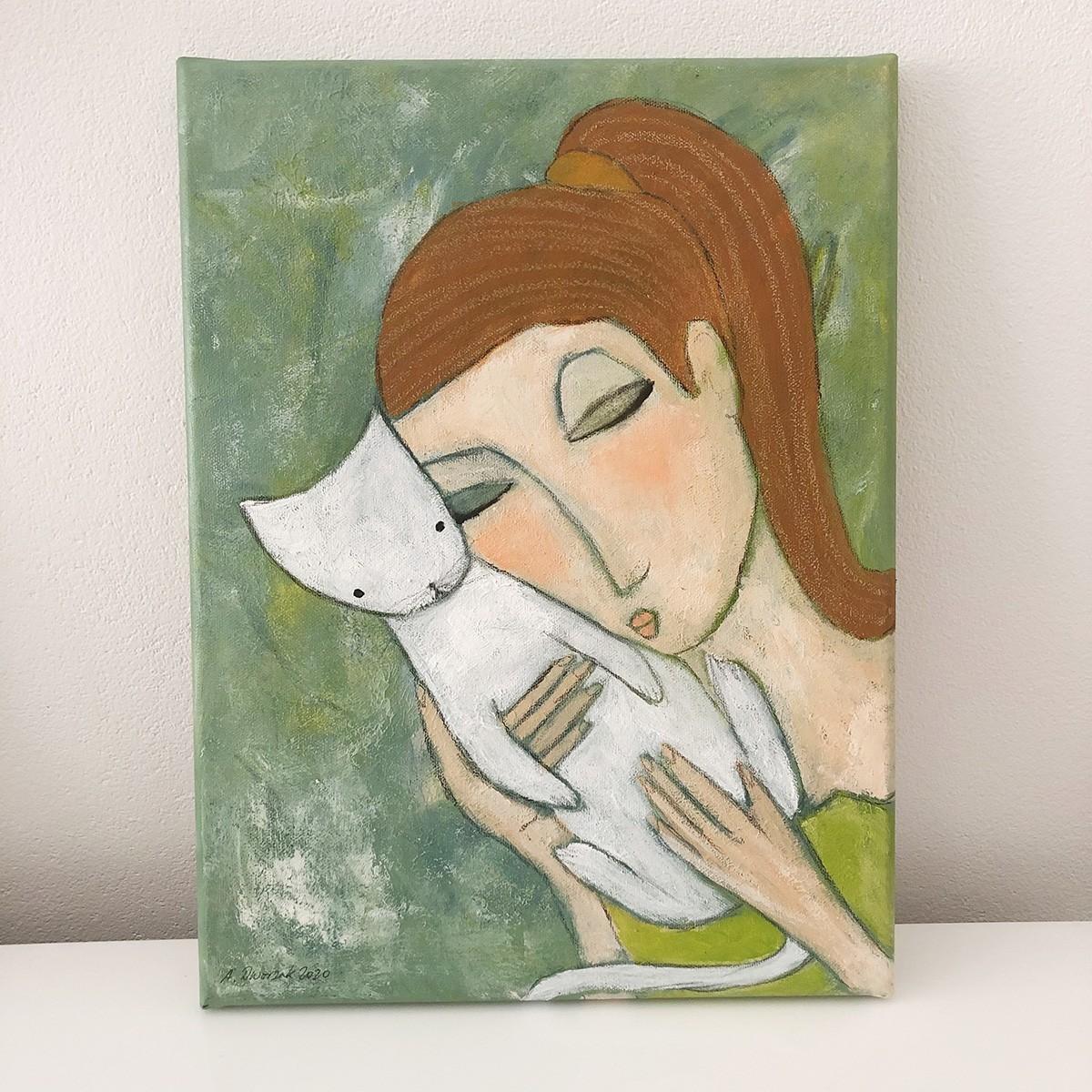 """""""Kuschelstunde"""" 40x30 cm Katzenmalerei"""