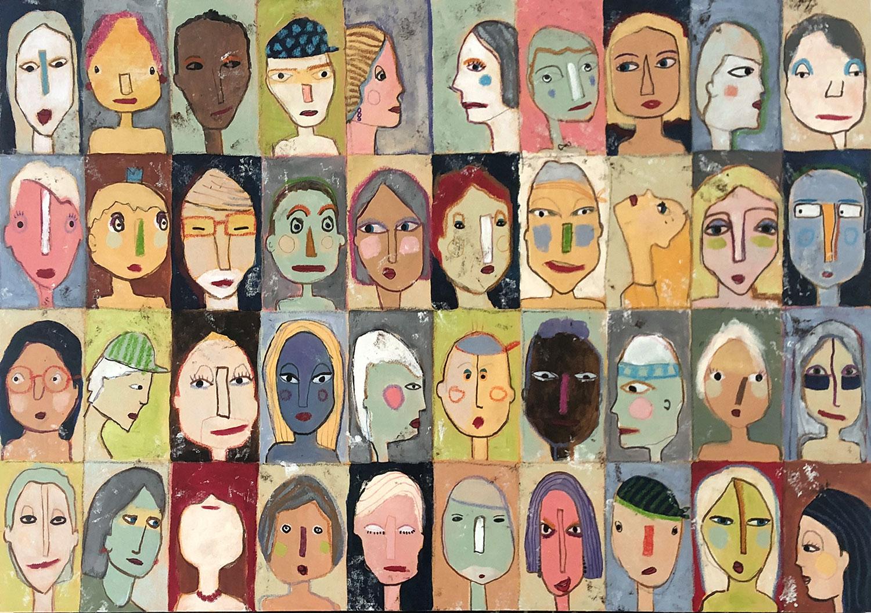 """""""Schnappschüsse"""" Malerei 100x70 cm mit Gesichtern"""