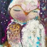 Zauberhaft - Eule Malerei Original auf Keilrahmen 24x18 cm