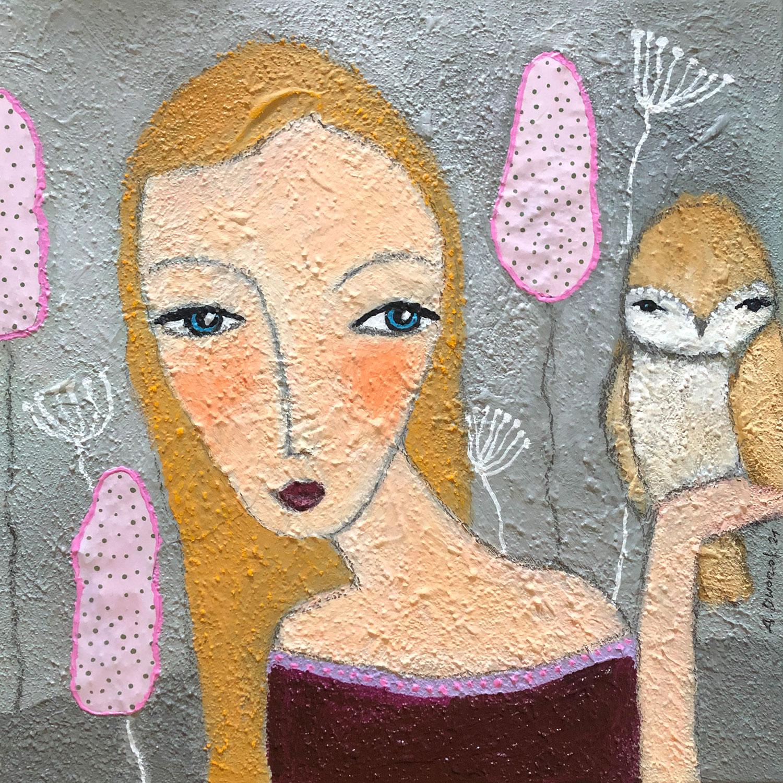 Acrylmalerei mit Frau und Eule in 30x30 cm