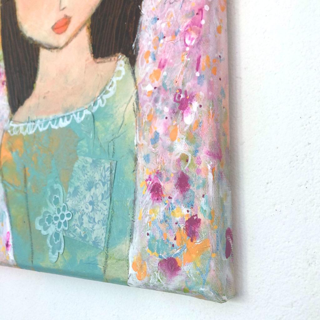 """""""Stille"""" Acrylmischtechnik mit Seidenpapier auf 30x30 cm Leinwand"""