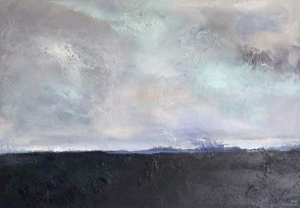 """Maritimes Gemälde 100x70 cm """"Abendhimmel"""" mit Stuktur"""