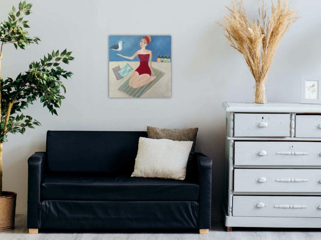 """Maritime Malerei """"Greta hat einen Vogel"""""""