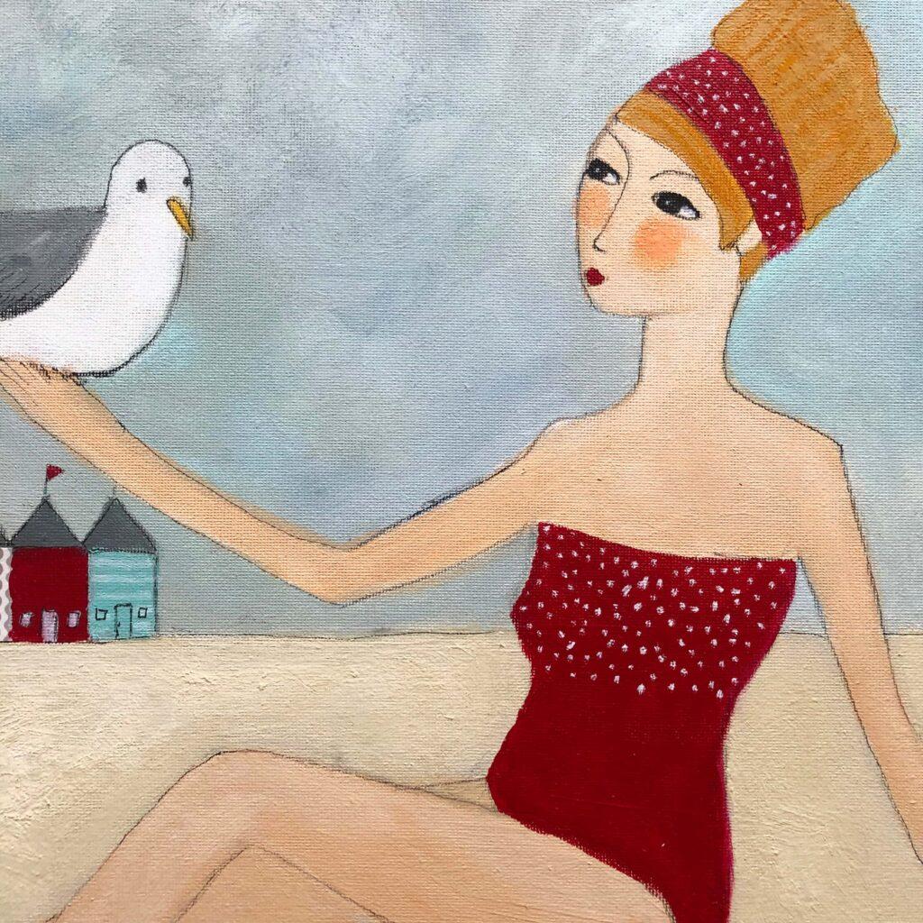 """""""Greta mag Vögel"""" 40x40 cm Acrylmalerei"""
