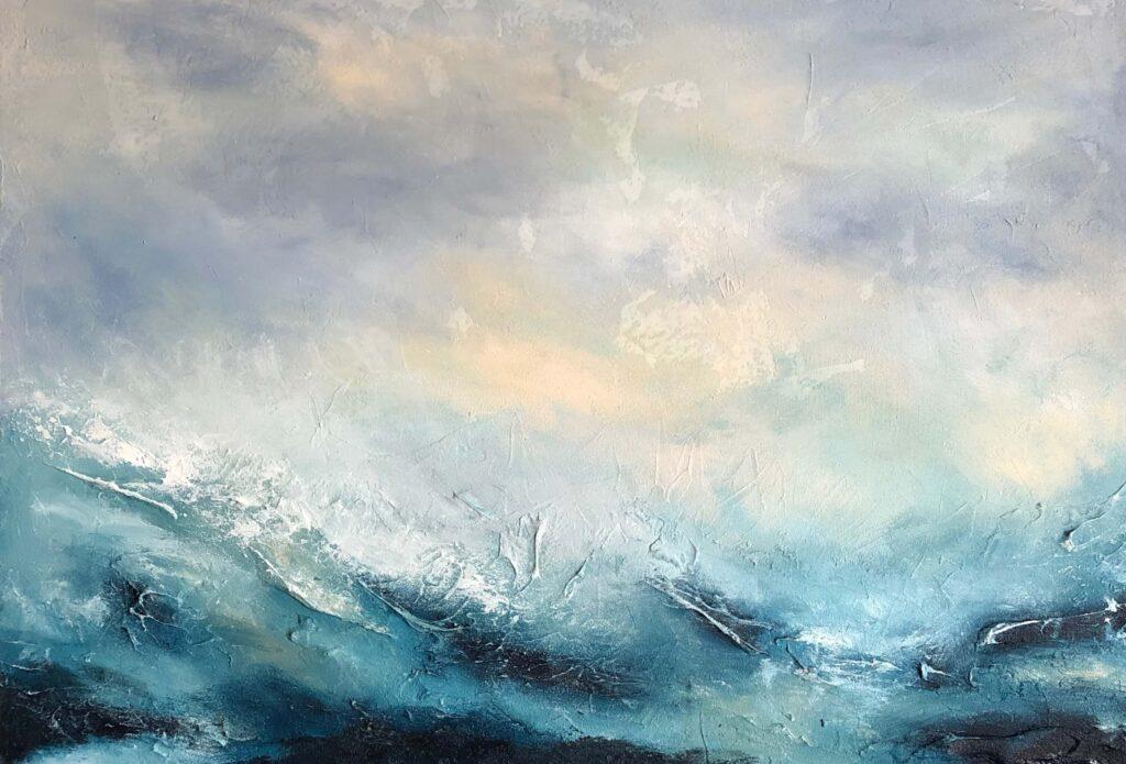 """""""Imposant"""" 100x70 cm Acrylmalerei Meer Wellen abstrakte Darstellung mit viel Struktur"""