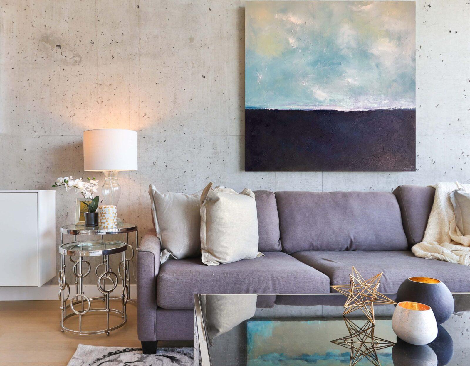 """""""Stille"""" Meer abstrakt mit Struktur 100x100 cm auf Leinwand"""