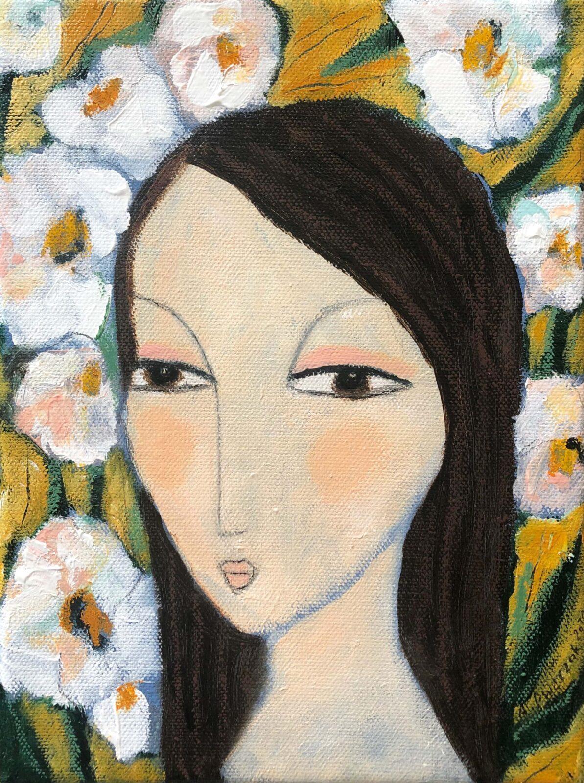"""""""Wenn die Blumen blühen"""" 24x18 cm auf Leinwand"""