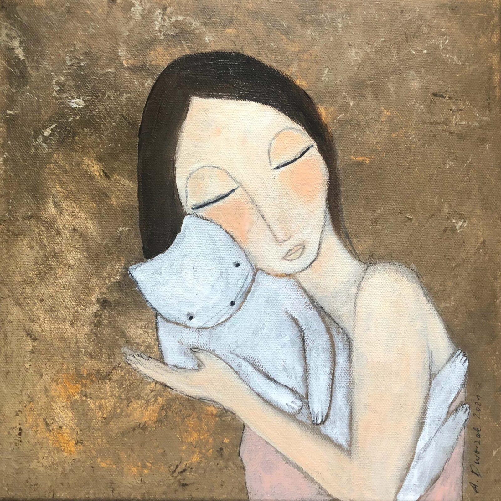 """""""Zeit zum Schmusen"""" 30x30 cm Acrylmalerei mit Katzenmotiv"""